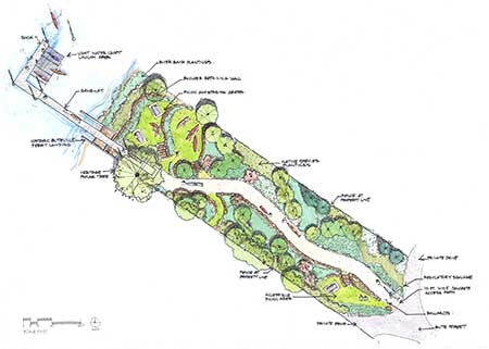 Rendition of the restored Butteville Landing right-of-way, provided by Steven Koch, Koch Landscape Architecture
