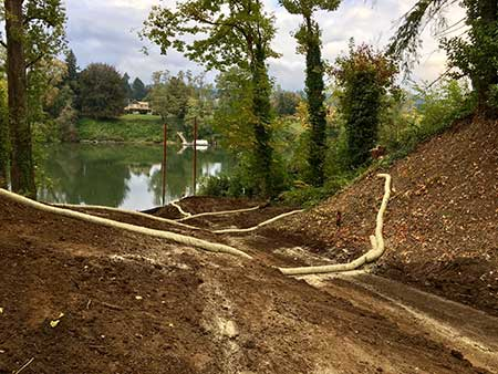 The Landing prepared for winter 2017 with erosion control in place.